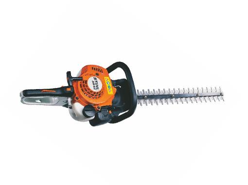 Moderno y ligero cortasetos a gasolina.